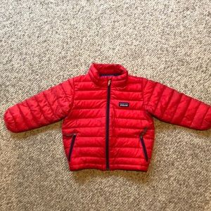 Patagonia red down puffer jacket sz 2 T